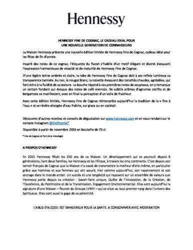 Communiqué de Presse Hennessy Fine de Cognac