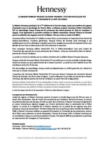 Communiqué de Presse - Hennessy Edition Particulière N°5