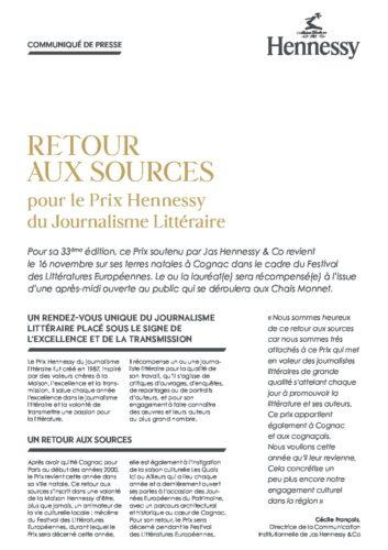 Communiqué de presse Prix Hennessy du Journalisme Littéraire